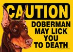 Doberman Caution May Lick You To Death Dog Sign Magnet Velcro 5x7 Brown
