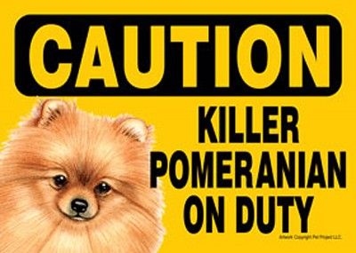 Killer Pomeranian On Duty Dog Sign Magnet Velcro 5×7 1