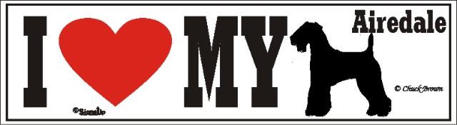 I Love My Airedale Dog Bumper Sticker
