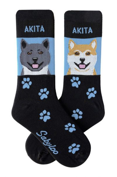 Akita Gray and Fawn Socks Blue in Color