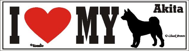 I Love My Akita Dog Bumper Sticker