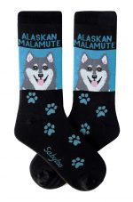 Gray Alaskan Malamute Socks Blue and Black in Color