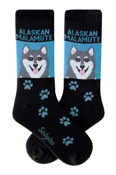 Gray Alaskan Malamute Socks Blue and Black in Color