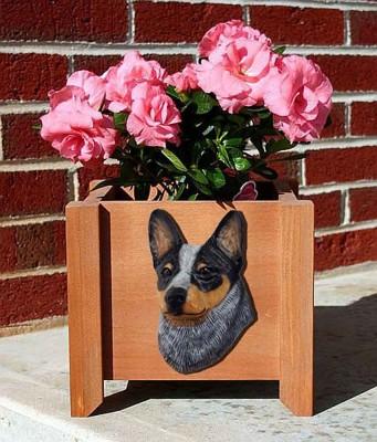 Australian Cattle Dog Planter Flower Pot Blue