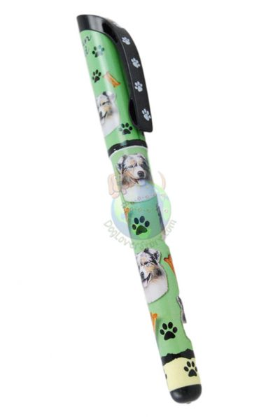 Australian Shepherd Writing Pen Green in Color