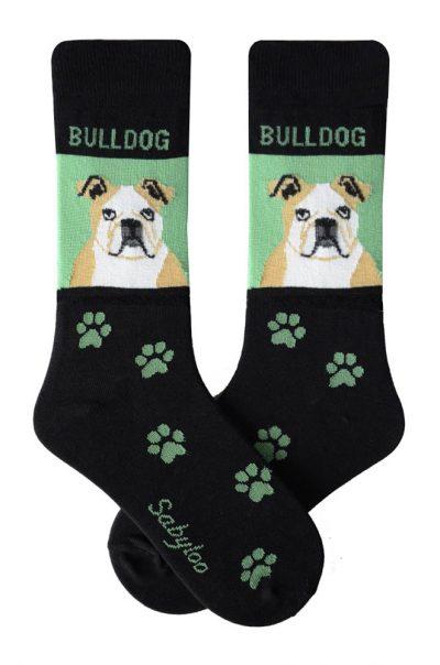 Bulldog Tan & White Socks Green and Black in Color