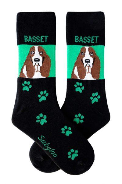 Basset Hound Socks Green & Black in Color