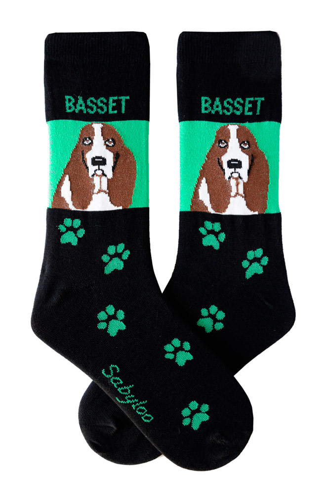 Basset Hound Socks Green & Black in Color