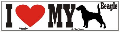 I Love My Beagle Dog Bumper Sticker 1