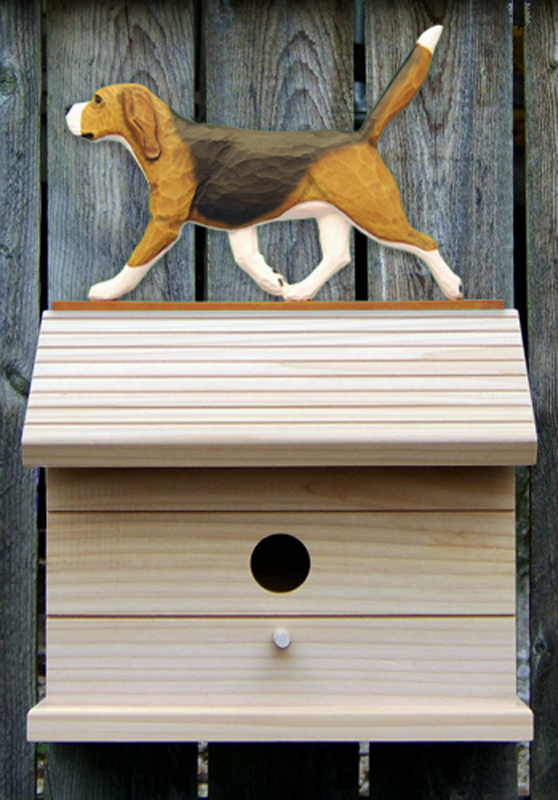 Beagle Hand Painted Dog Bird House Tri
