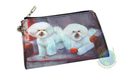 2 Bichon Frise Dogs Sitting on Couch Design on Zippered Wallet Coin Bag