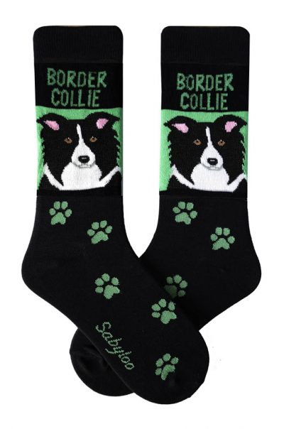 Border Collie Socks Black & Green in Color