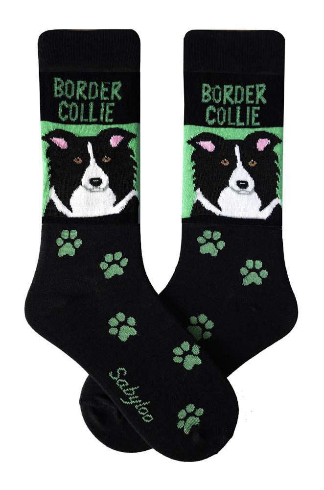 Border Collie Socks Black & Green in Color