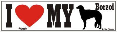 I Love My Borzoi Dog Bumper Sticker