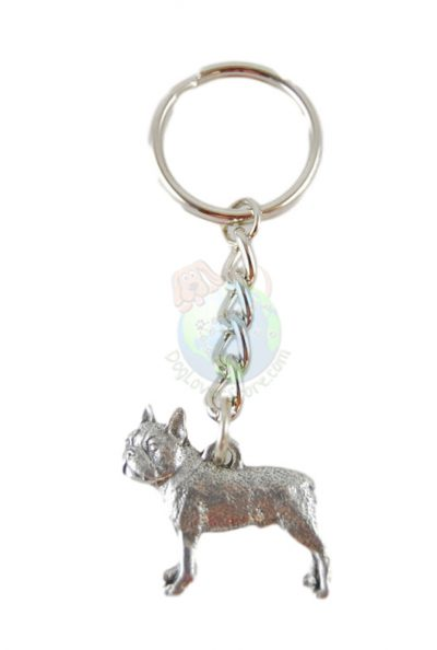 Boston-Terrier-Dog-Fine-Pewter-Silver-Keychain-Key-Chain-Ring-400309380102