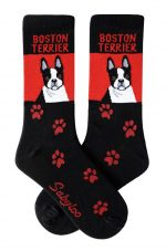 Boston Terrier Socks Black & Red in Color