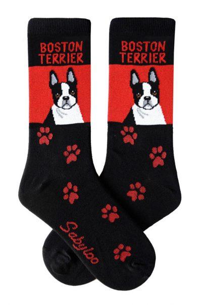 Boston Terrier Socks Black & Red in Color