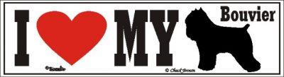 I Love My Bouvier Dog Bumper Sticker 1