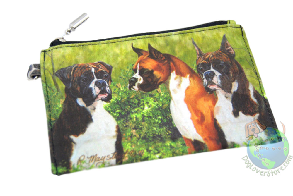 3 Boxer Dogs Sitting in Field Design on Zippered Coin Wallet Bag