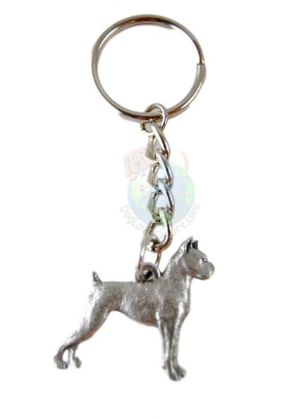 Boxer-Dog-Fine-Pewter-Silver-Keychain-Key-Chain-Ring-400749497842