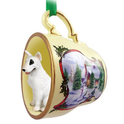 Bull Terrier Dog Christmas Holiday Teacup Ornament Figurine 1