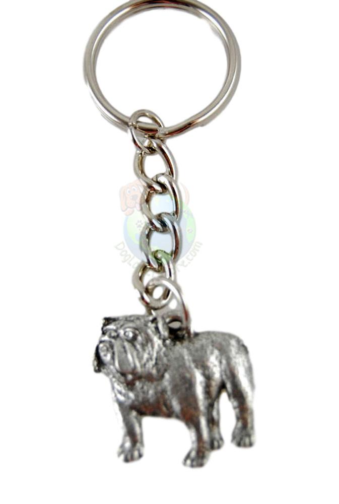 Bulldog Pewter Keychain