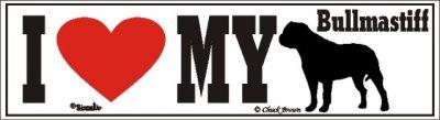 I Love My Bull Mastiff Dog Bumper Sticker