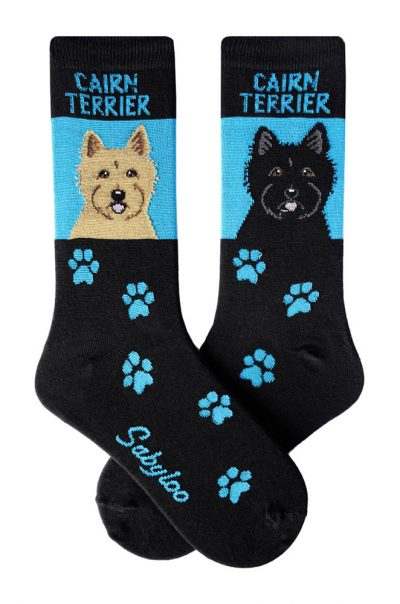 Cairn Terrier Tan and Cairn Terrier Black Socks Blue and Black in Color