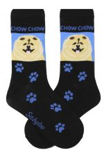 Chow Chow Red Socks Blue & Black in Color