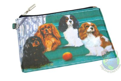 4 Cavalier King Charles Dogs Sitting on Stairs Design on Zippered Coin Wallet Bag