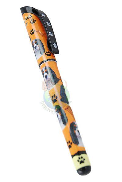 Cavalier King Charles Tri Color Writing Pen Orange in Color