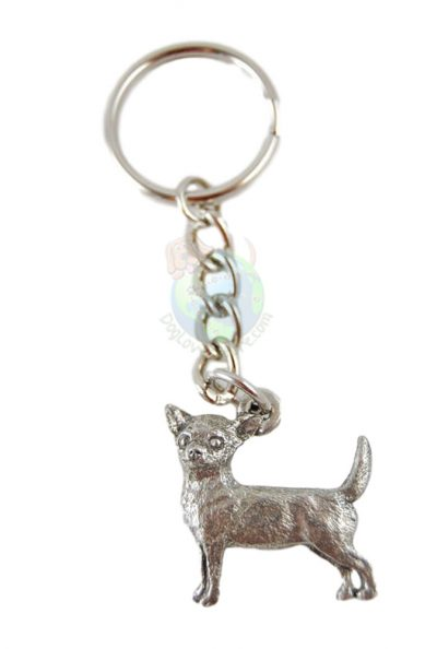 Chihuahua Smooth Pewter Keychain