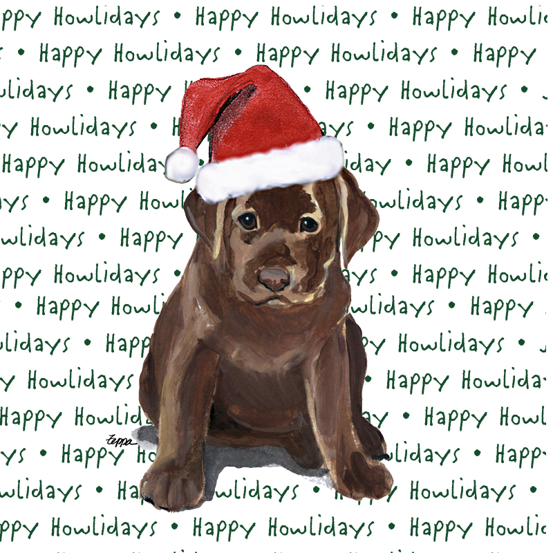 Chocolate Labrador Coasters Christmas Themed Puppy