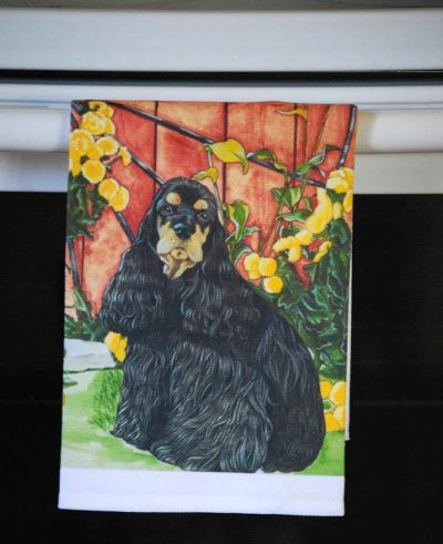 Cocker Spaniel Kitchen Hand Towel Black/Tan 2