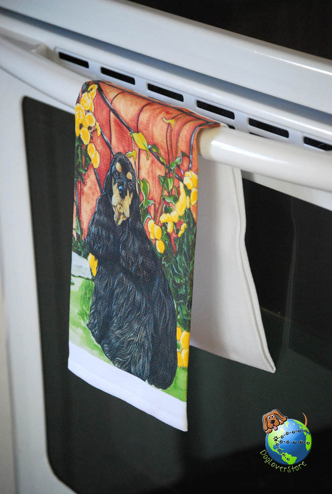Cocker Spaniel Kitchen Hand Towel Black/Tan
