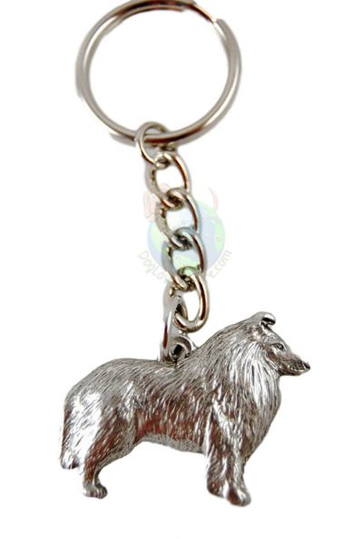 Collie Pewter Keychain