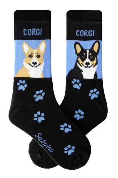 Corgi Pembroke & Cardigan Socks - Black and Blue in Color