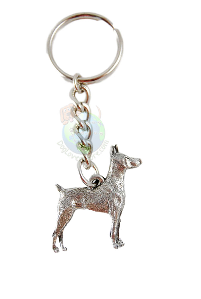 Doberman Pinscher Pewter Keychain