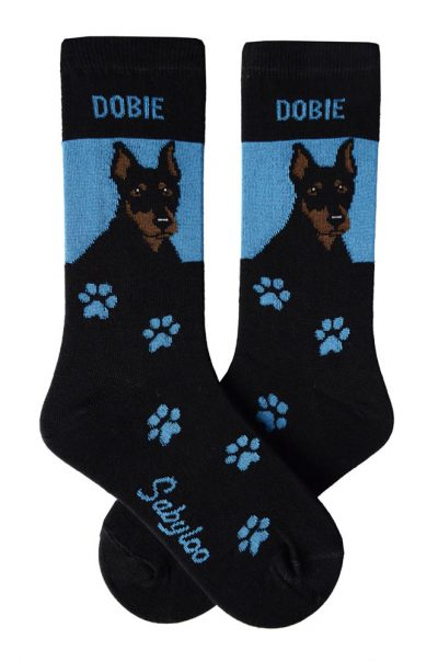Doberman Pinscher Cropped Socks Black and Blue in Color