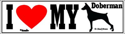 I Love My Doberman Pinscher Dog Bumper Sticker 1