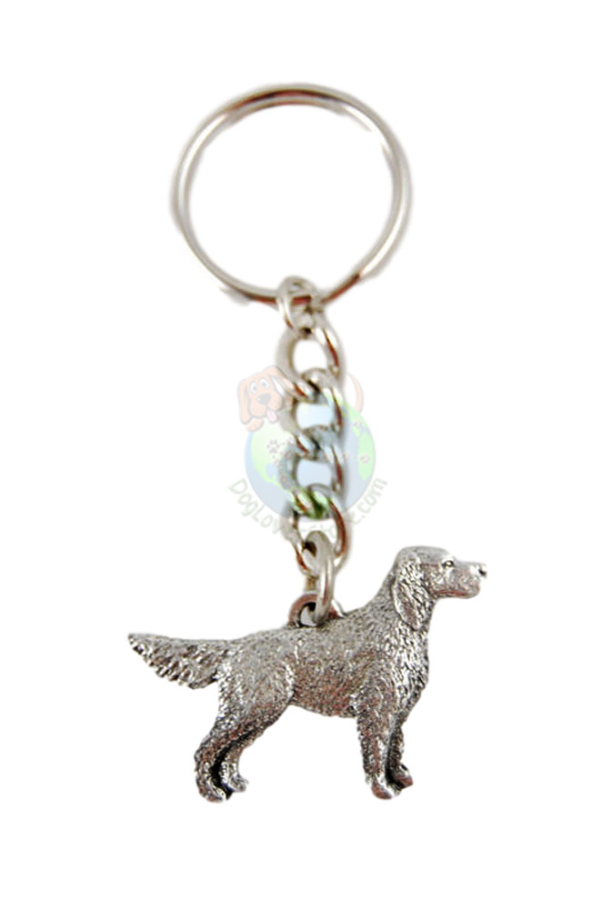 English Setter Tail Down Pewter Keychain