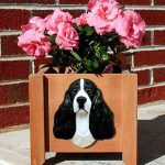 English Springer Spaniel Planter Flower Pot Black 1