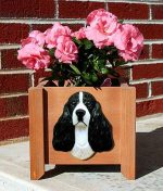 English Springer Spaniel Planter Flower Pot Black