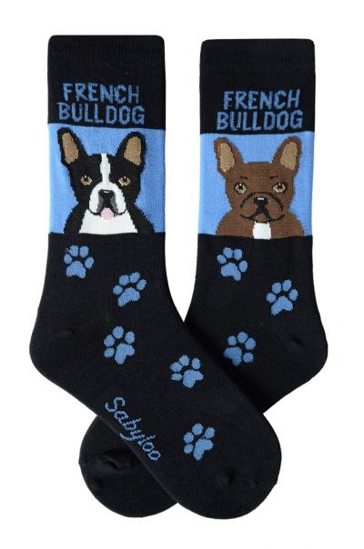 French Bulldog Socks Brindle and Black/White - Blue and Black in Color