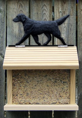 Flat Coated Retriever Hand Painted Dog Bird Feeder Black