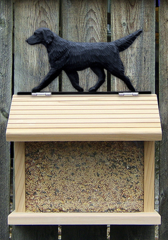 Flat Coated Retriever Hand Painted Dog Bird Feeder Black