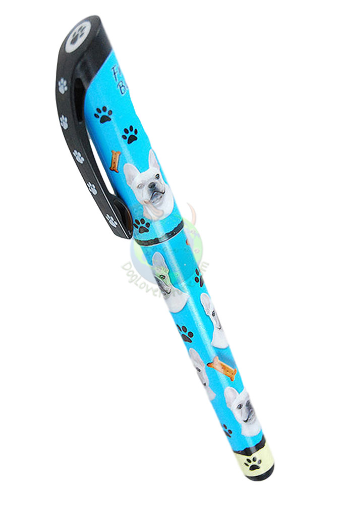 Cream French Bulldog Writing Pen Blue in Color
