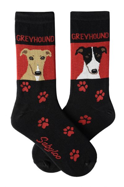 Greyhound Tan and Black/White Socks - Red and Black in Color