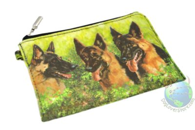 3 Black and Tan German Shepherds Sitting in Field Design on Zippered Coin Wallet Bag