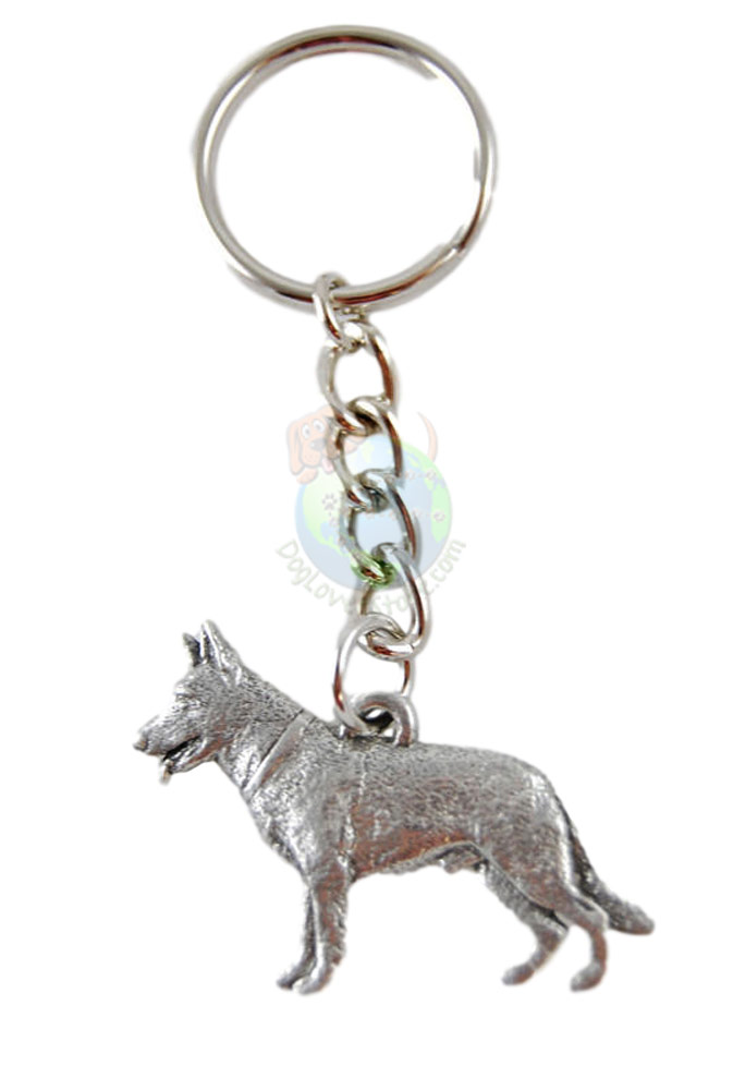 German Shepherd Pewter Keychain